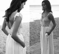 Satin Floor-Length Other 2016 Boho Beach Lihi Hod Two Pieces Wedding Dresses V-neck Spaghetti Straps Backless Beaded Crystals Chiffon Bridal Gown with Pockets