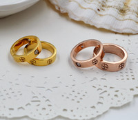 Wholesale Couples Hot fashion brand L Titanium steel screw love Finger Ring multicolors plating stone style lovers jewelry