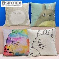 Algodão linho capas de almofadas Pattern Totoro Impresso Início Sofá Car Decor Pillowcase 43x43cm