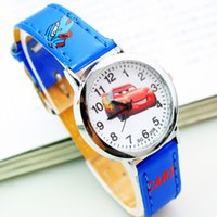 Wholesale 2016 Cartoon Cars Watches Fashion Children Boys Kids Students Cars PU Leather Sports Watches Analog Wristwatch