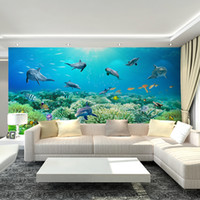 art deco backgrounds - 3D Underwater World Mural Art Deco interior non woven wallpaper dolphin coral wall art children s bedroom TV background