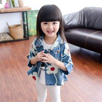 Wholesale 2016 New Autumn Demin girls Jacket Cowboy Jean Coat Flower outwear Spring Floral girl Coat cm