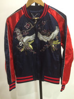 Wholesale Sukajan Jacket MA1 Bomber Jacket Pilot Jackets Fashion embroidery cranes Baseball uniform cool coats