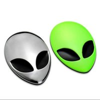 Wholesale 3D Multicolor Alien Head UFO Creative Design Metal Car Motorcycle Decal Sticker Badges Emblem