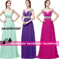 backless dresses for sale - 2016 Modest Long Full Length Evening Dresses with Rhinestone Beads Cap Sleeves for Women Sale Cheap Mint Chiffon Prom Gowns k15 Party Wear