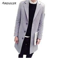 Wholesale Fall HOT Fashion New Long Men s Trench Coat Turn down Collar Winter Overcoat Casual Solid Men Long Wool jacket Men Coat