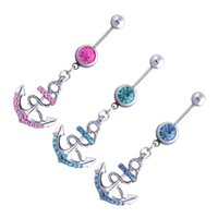 big barbell - Christma colors big promotion Vogue Rhinestone Anchor Dangle Button Barbell Belly Navel Ring Bar Body Piercing