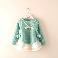 baby clothes decorations - 2016 Spring Autumn Winter casual cotton girls princess dress pearl and bow Decoration dress baby children lace Splice clothing
