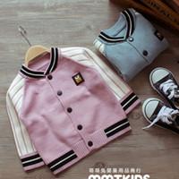 Wholesale sweater cardigan coat baseball uniform jacket Pink Blue Autumn Outwear children s clothing Korean children boys and girls clothes