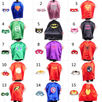 Wholesale 15 styles L110 cm Adult Superhero capes cape with mask set Satin fabric Spiderman Batman Ironman Halloween Cosplay costumes