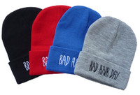 bad cowboys - 2016 Sport Winter Bad Hair Day Beanie Cap Men Hat Beanie Knitted Winter Hats For Women Fashion Caps black red blue white grey color