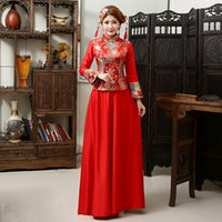 Wholesale Elegant red Qipao Cheongsam with LONG sleeves Applique high neck court train see through Chinese dresses women mermaid evening gowns