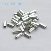 aluminum pipe fittings - pieces Fish crimps aluminum pipe fishing line tube fitted tube wire clip tube fishing tackle fishing sleeve