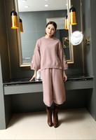 Wholesale new design Autumn Women piece set sweater Pants Lady s embroidery cotton lace trim sleeve crew Neck split pullover