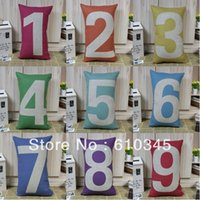 Wholesale Digital Character Rainbow x30cm Lucky Number Zero to Nine Pillow Cover Cushion cover pc