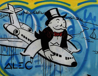 One Panel airplane cartoons - New Design Airplane Handpainted Alec Monopoly Cartoon graffiti Pop Art oil Painting Canvas Museum Quality any coustomized size Available