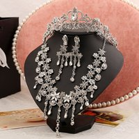 americans with disabilities - Online selling three piece bridal jewelry sets necklace women with disabilities Rhinestone Jewelry Sets Wedding accessories