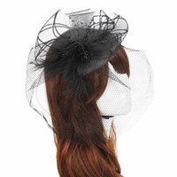 Wholesale Amazing Wedding Fascinator Veil Feather Hard Yarn Headband Women Brides Hair Accessories