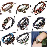 bangle box craft - Free DHL Color Diy Craft Multilayer Leisure Bracelet Leather Bracelet Bangle Unisex Handmade Alloy Charms Bracelets Jewelry D836L