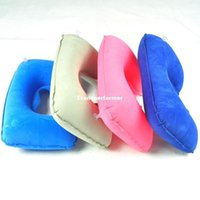 Wholesale FEDEX Travel air pillow inflatable pillow flock printing pillow neck pillow u shaped pillow mixed color