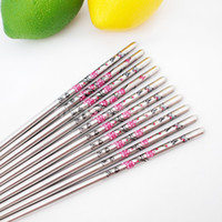 Wholesale 5 Pair Stainless Steel Plum Blossom Flower Pattern Chopstick Chop Sticks Chinese