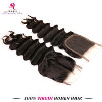 Wholesale Brazilian Deep Weave Top Lace Closure by Brazilian Human Hair Closure Natural Black Hair Products Hair Pieces Bleached Knots Deep Wave