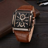 Wholesale Luxury Belts Brands - Leather Belt Watches Men Luxury Badace Brand And Date Of Casual Pattern Square Dial Multiple Quartz Watch