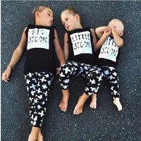 best long tank tops - Children Set Kids Suit Outfits Child Clothes Kids Clothing Summer Black Tank Tops Boys Girls Long Trousers Best Suits Lovekiss C23475