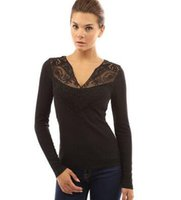 Wholesale 2016 hot sale cotton lace women s sexy longsleeves T shirt black blue wine red grey