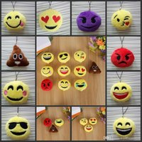 Wholesale New Keychains cm Emoji Smiley Small pendant Emotion Yellow QQ Expression Stuffed Plush doll toy bag pendant for Christmas gift