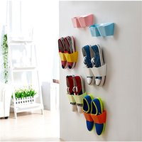 bamboo shoes shelf - Wall Mounted Sticky Hanging Shoe Holder Hook Shelf Rack Organiser Accessories Storage Holder