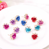 Wholesale Women Lady Elengan Rose Flower with Rhinestone Earring Stud Fashion Statement Earrings Party Jewelry Earrings Valentine Gift