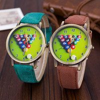 Wholesale Mens Leather Watches Tennis Watch Billiards Fashion Watches For Women Mens Fabric Belt Brand Quartz Wristwatch