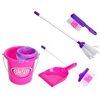 Wholesale 1Set Kids Girls Pretent Play Housekeeping Toy Pink Mini Sweep Clean Toys Educational Fun Cleaning Play Set Toy K5BO