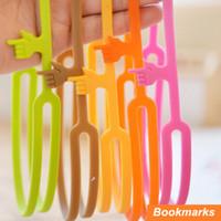 Wholesale 50 Silicone finger bookmarks Book holder Handy print papelaria marcador de livro Stationary Office School supplies