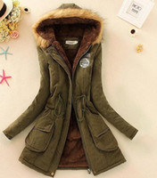 beige cashmere coat - New Winter Women Faux Fur Lining Long Parka Jacket Woman Army Green Real Raccoon Fur Collar Hooded Warm Parkas Multi Color Coat Tops FS0651