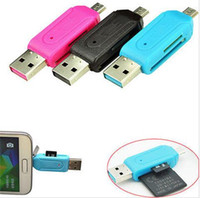 Wholesale Universal Card Reader Mobile phone PC card reader Micro USB OTG Card Reader OTG TF SD flash memory