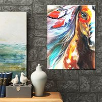 Wholesale New Style Hand Made Abstract Horse Oil Painting On Canvas Animal Oil Painting Modern Canvas Wall Art Living Room Decor Picture