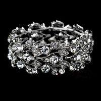 Wholesale Fashion Leaf Crystal Wedding Bracelets Bangles Party Bridal Jewelry Wedding Accessories