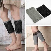 acrylic trim - Women Lace Knitted Leg Warmers Winter Crochet Trim Boot Cuffs Lace Knit Legging Sock Christmas Socks Leg Warmers Socks Boots Cover E27