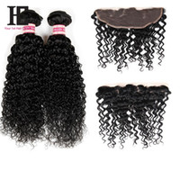 Cheap 7A Brazilian Virgin Hair Kinky Curly Weave With Closure 2 Bundles With Closure Brazilian Kinky Curly Lace Frontal With Bundles