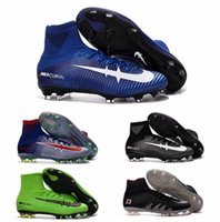 Wholesale 2016 MERCURIAL SUPERFLY V FG football soccer shoes Boots CR7 Cleats mercurial superfly Original Golden Blue High Ankle Soccer Cleats