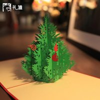 Wholesale Christmas Tree Greeting Cards Kirigami Origami D Pop UP Card Cubic Greeting Gift Christmas Cards Wedding Invitations