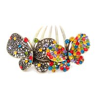 asian hair types - 2016 fashion trend Flying Flying retro European and American popular diamond studded butterfly type hair comb hair accessories