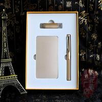 Golden 10000mah cadeau de banque de puissance avec lecteur flash 8G usb et stylo signe avec la différence de couleur et service OEM