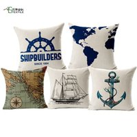 Wholesale Navigation Cushion Marine Sailboat Seamark Linen Pillowcase Sea Map Cojines Ship Anchor Capa Para Almofada Decorative Poduszki