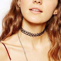 Wholesale New Fashion Creative Women Vintage Stretch Tattoo Henna Choker Hippy Necklace Black QJ
