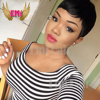 african american celebrity hair - Pixie Cut Short Human Hair Wig Natural Black Rihanna Cut Wigs For Black Women African American Celebrity Wigs New Hot Sale