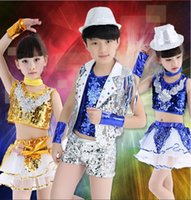 baby jazz clothing - The new stage dance performance clothing male and female children bright piece jazz dance street dance baby performance service