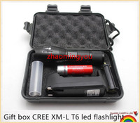 Wholesale 10PCS YON Gift box CREE XM L T6 Lm focus adjustable modes led flashlight torch lamp light with charger